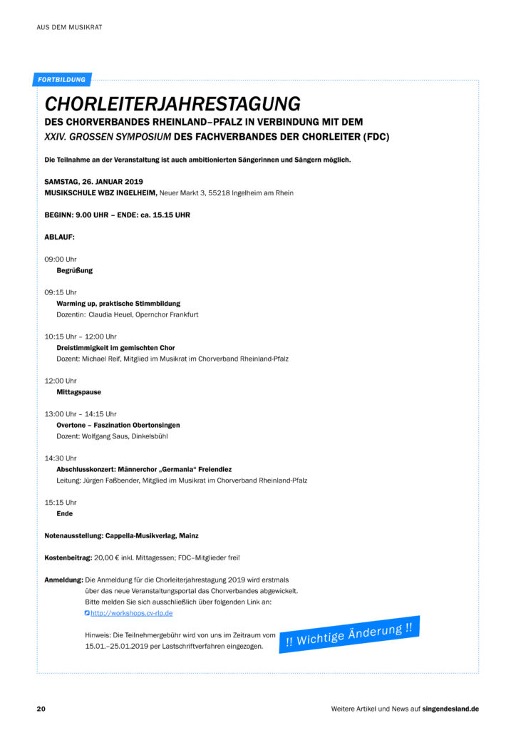 Chorleiterjahrestagung mit FDC-Symposium @ Musikschule im Weiterbildungszentrum Ingelheim | Ingelheim am Rhein | Deutschland